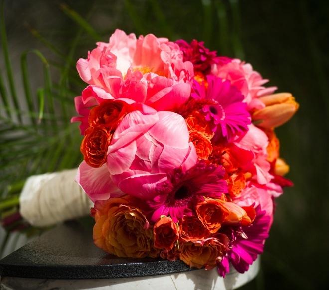 coral orange hot pink bridal bouquet evantine design