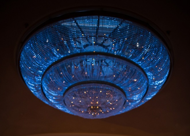 glass chandelier blue lighting philadelphia weddings ritz carlton hotel-c