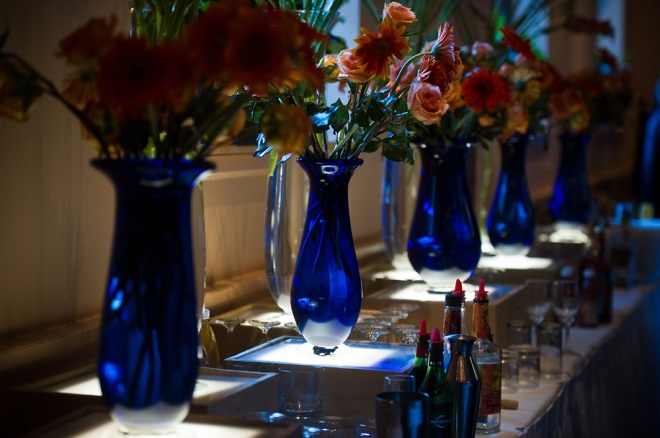 handblown blue glass vases philadelphia wedding designers