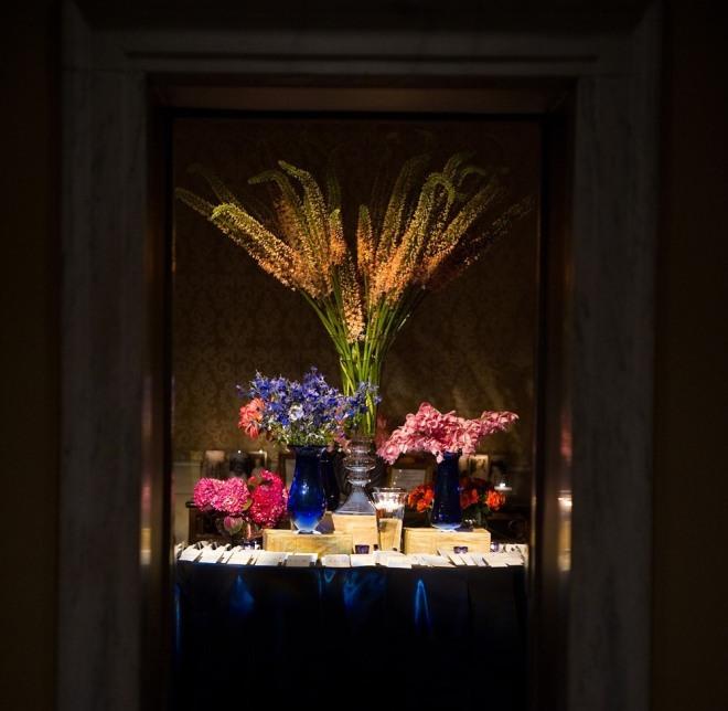 Placecard Table Arrangement Blue Taffeta Summer Flowers