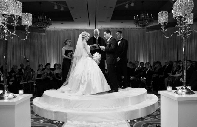 wedding ceremony round stage crystal candelabra four seasons luxury weddings philadelphia