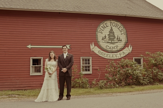Bride and Groom Portrait Pine Forest Camp Wedding