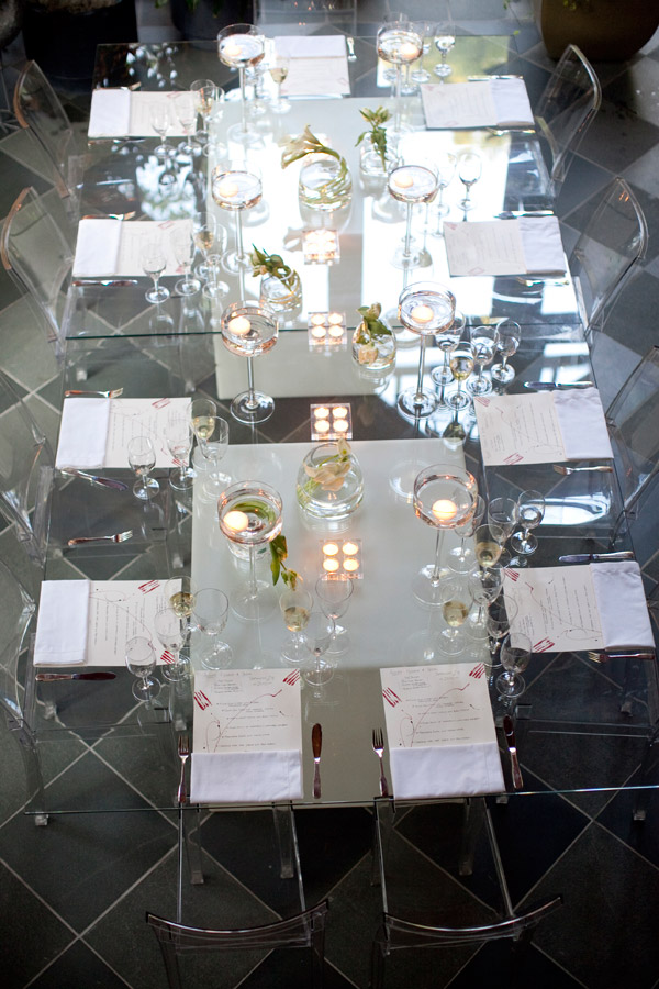 Glass Dinner Tables Lucite Chairs Private Events Main Line Philadelphia Evantine