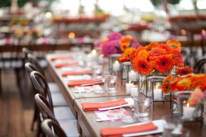 Orange and pink flowers wedding centerpieces evantine