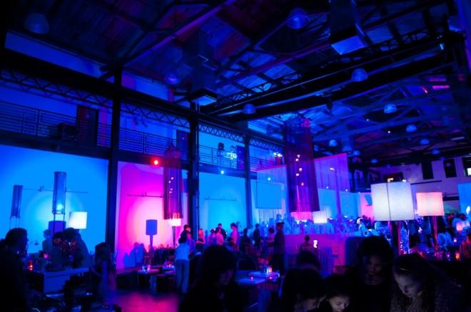 blue lighting urban lofts in philadelphia modern party spaces evantine design