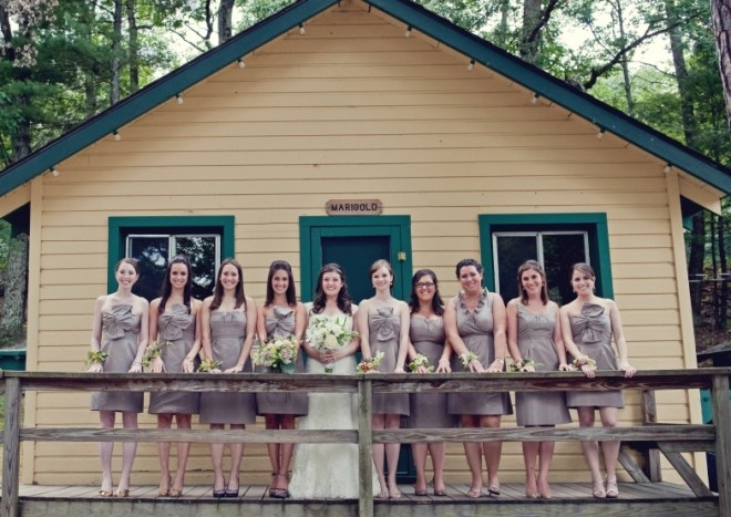 Bridal Party Photo Cabin Marigold Pine Forest Camp Weddings-c