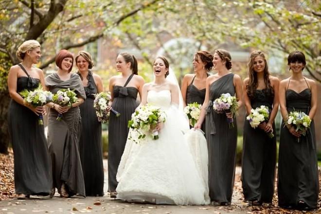 Bridal Party Photos Gray Bridesmaids Dresses Philadelphia Weddings