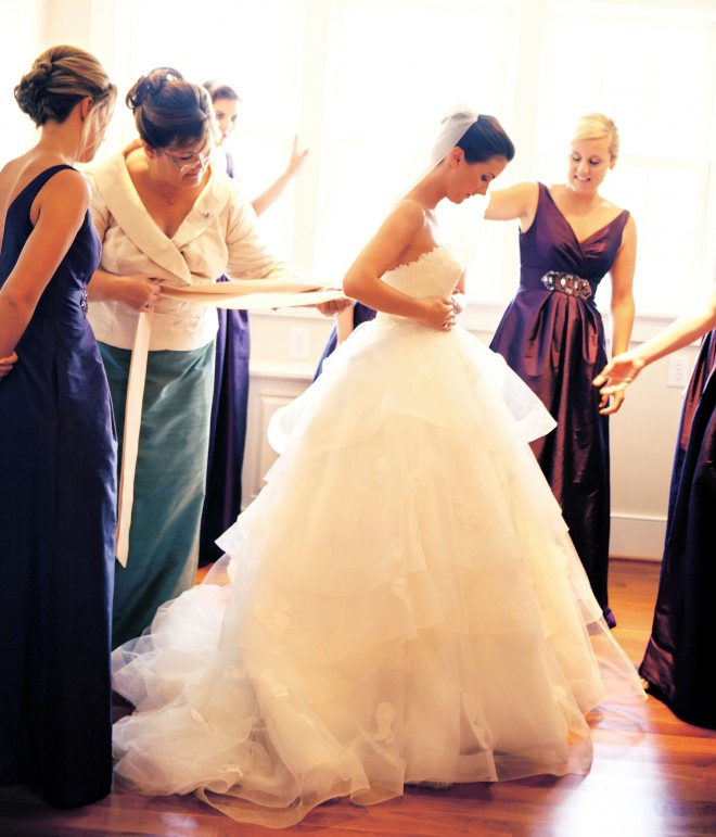 Dressing the Bride Purple Bridesmaids Gowns South Jersey Weddings