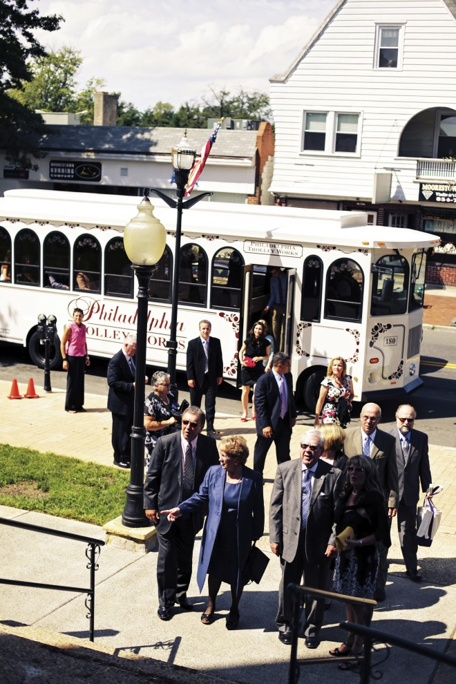 Guests Arriving Wedding Trolleys South Jersey