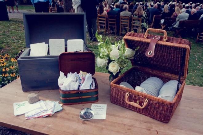 Vintage Hankies Kippot and Program Table Camp Wedding Evantine Love Shack-c