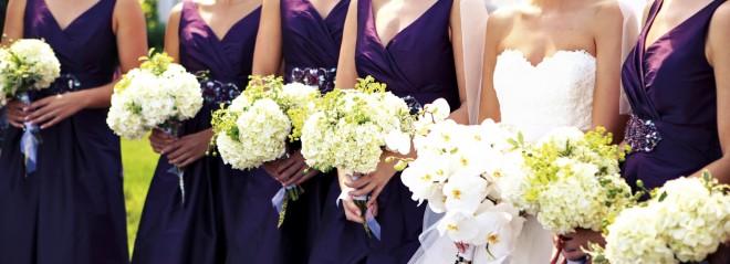 White Hydrangea Bridesmaids Bouquets White Phalaeonpsis Orchid Bridal Bouquet