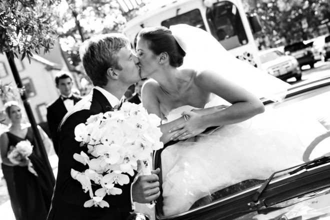 Bride and Groom Kiss Golf Cart New Jersey Country Club Wedding