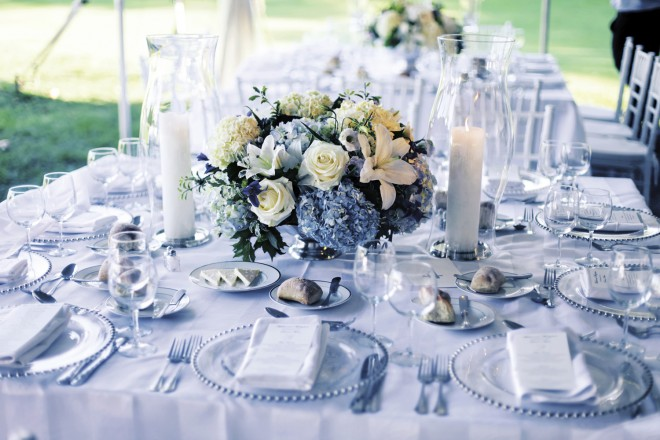 Classic Blue Hydrangea Centerpieces Summer Wedding Decor Evantine Design