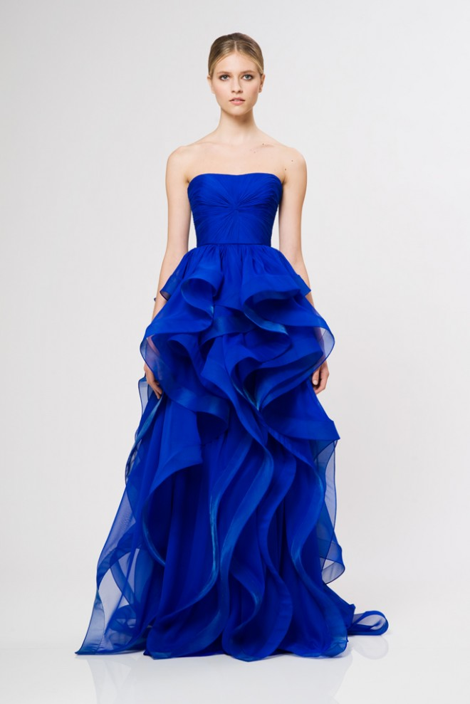 Cobalt Blue Reem Acra Gown Resort 2013