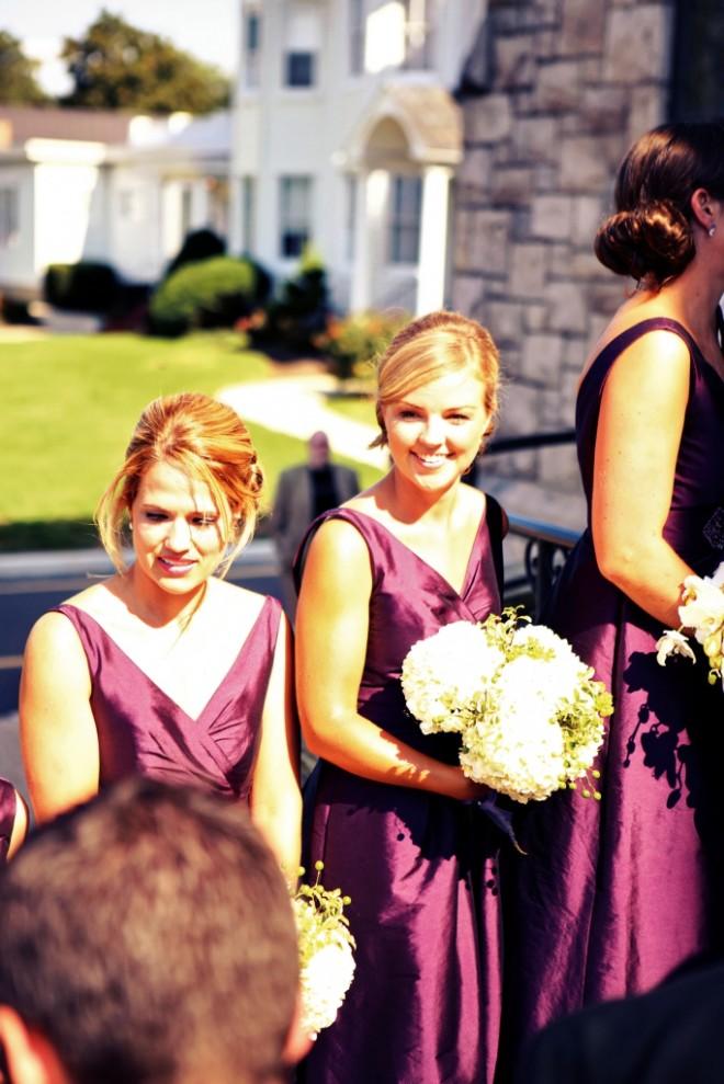 Purple Bridesmaids Dresses White Hydrangea Bridal Bouquets Evantine Design