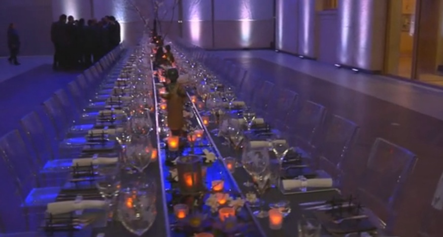 feast tables reflecting pool centerpieces gardenias barnes museum evantine design