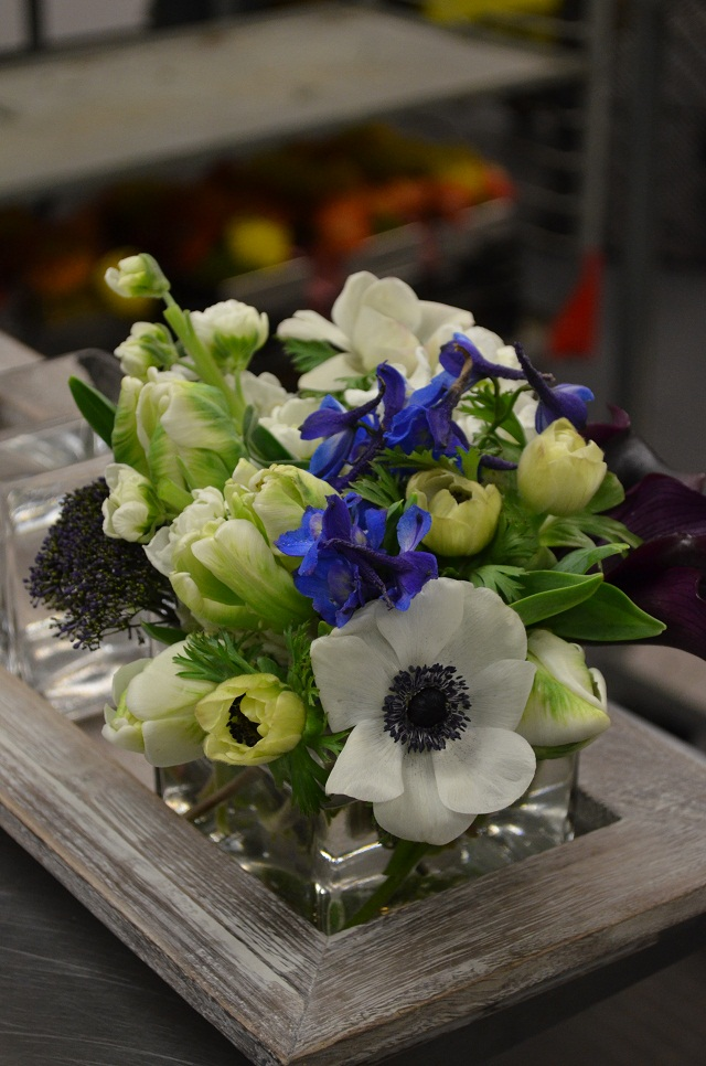 Modern Spring Centerpieces, Evantine Design, Blue and White Flowers