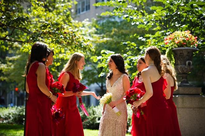 Red Bridesmaids Dresses Cliff Mautner