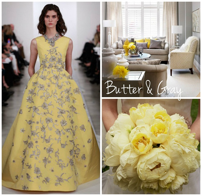 butter and gray oscar de la renta gown yellow peony bridal bouquet