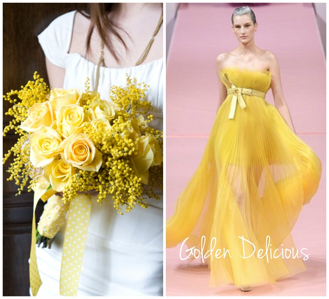 golden yellow pleated gown mimosa bridal bouquet