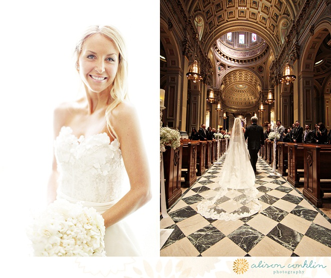 Monique Lhuillier Wedding Gown Catholic Cathedral Philadelphia Weddings