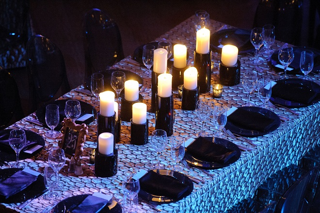 Black and Silver Dinner Tables Black Candle Centerpieces Evantine Design A