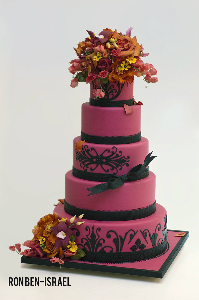 hot pink and black wedding cake ron ben-israel