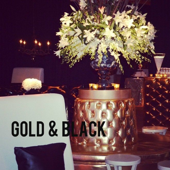 Real stories a modern black and gold mitzvah evantine for Decor gold blog