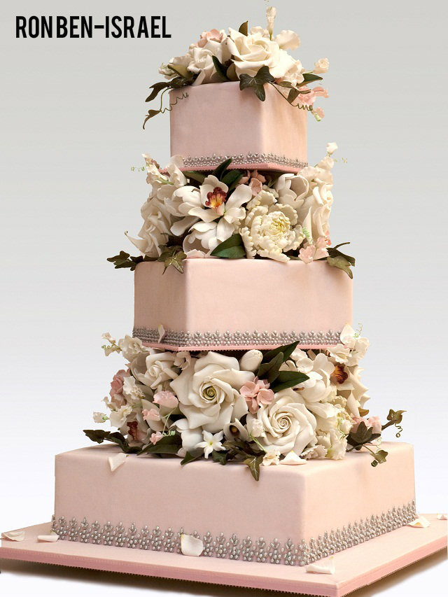 pale pink wedding cake by ron ben israel