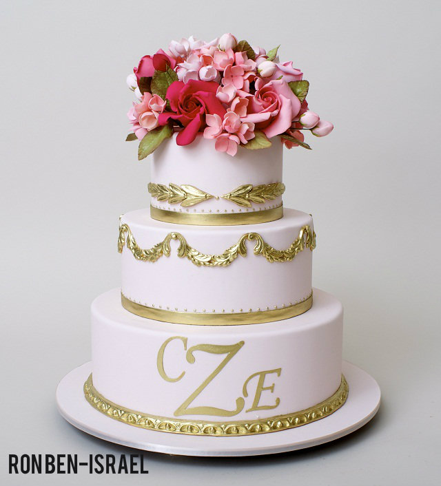 pink and gold wedding cake by ron ben israel