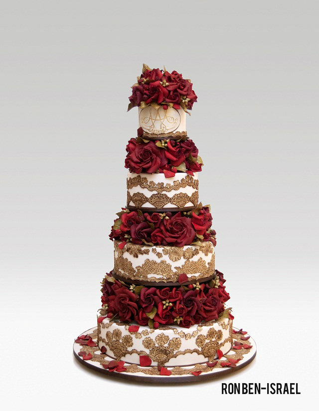 red and gold wedding cake by ron ben-israel