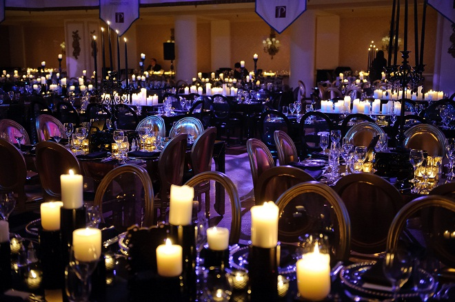 Sea of Candles Black and Gold Event Design Evantine Design A