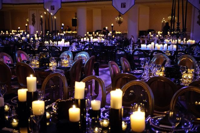 Sea of Candles Black and Gold Event Design Evantine Design A