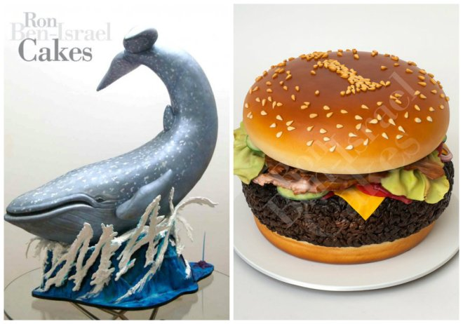 whale cake and burger cake ron ben israel