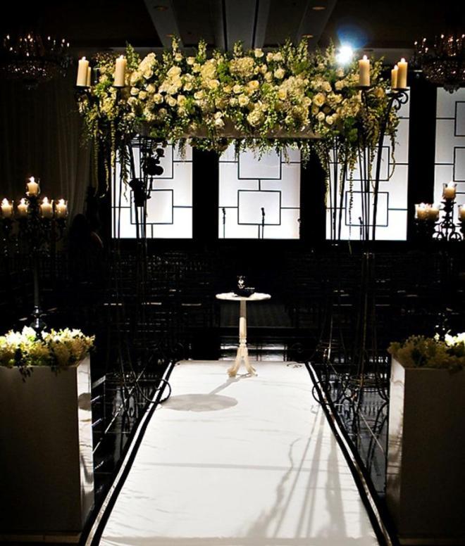 black and white Chuppah Evantine Design Four Seasons Philadelphia
