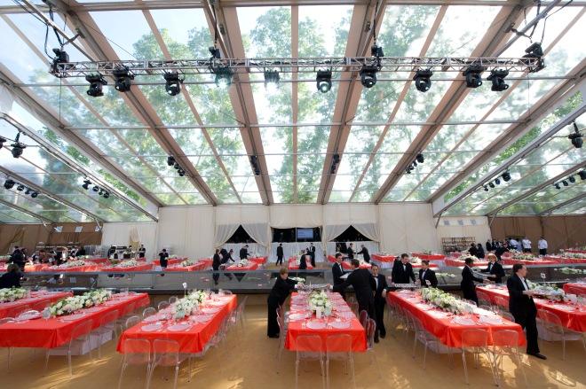 Long Feast Tables Orange Parties Evantine Design Barnes Museum