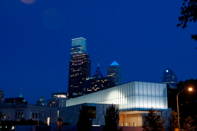 night skyline barnes museum philadelphia