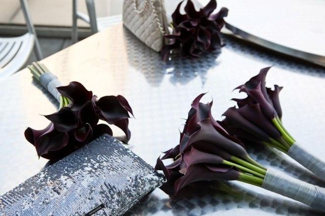 Purple Mini Calla Bouquets Evantine Design