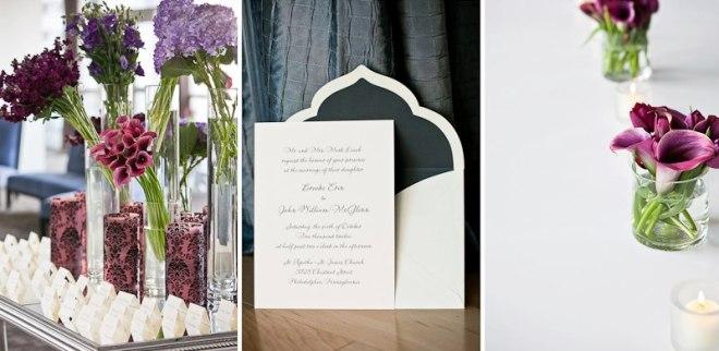 Purple wedding flowers Kimmel Center Weddings