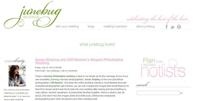 Junebug Weddings Susan Stripling Cliff Mautner Evantine Design