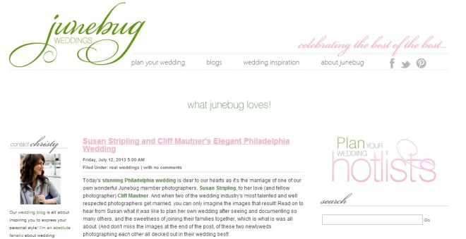 Junebug Weddings Susan Stripling Cliff Mautner Evantine Design