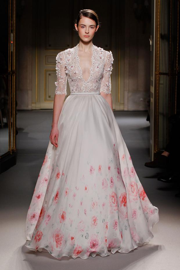 Georges hobeika haute couture spring 2013 floral dresses for Haute couture gowns