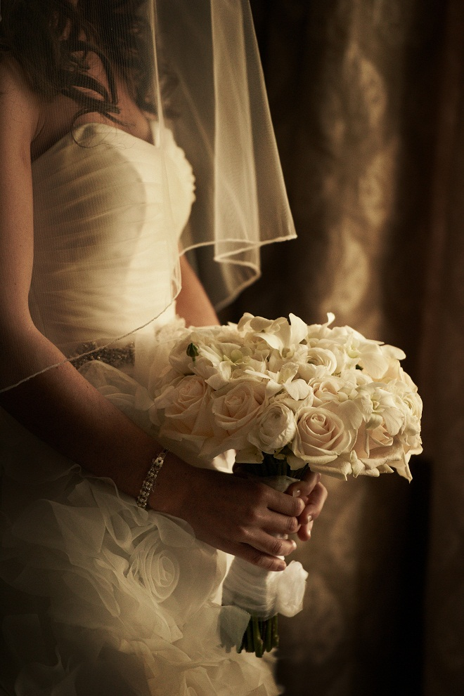 traditional white wedding bouquet evantine philip gabriel