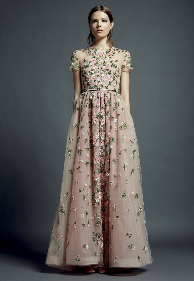 Valentino floral embroidered gowns for Flower embroidered wedding dress