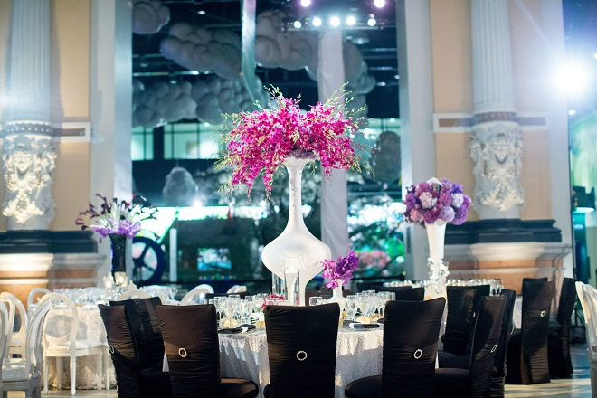 black chameleon chairs for weddings purple orchids evantine design