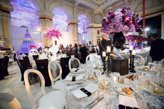 purple and black wedding decor evantine design