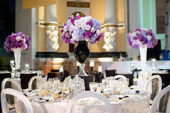 purple and black wedding design philadelphia event designers