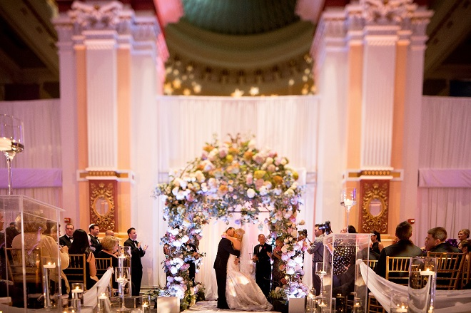 purple chuppah please touch museum weddings evantine design