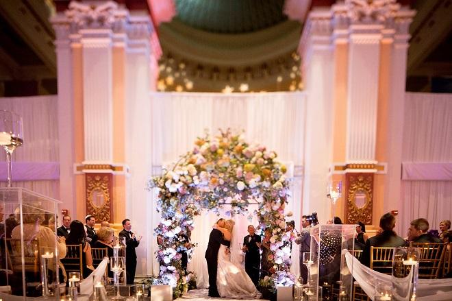 purple chuppah please touch museum weddings evantine design