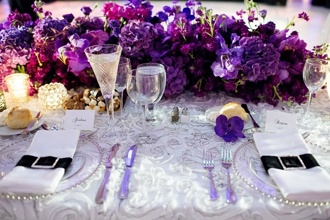 purple head table evantine design wedding flowers